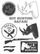 African hunter safari labels, rhinoceros emblems and design elements. Vector Stock Illustration