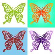 Spring butterfly color composition. Vector illustration layered for easy mani - stock illustration