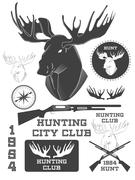 Set of vintage outdoors with a deer labels, badges and design elements. Vecto - stock illustration