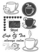 Set of vintage tea labels, badges and design elements. Vector - stock illustration