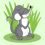 Beautiful cartoon mouse standing on grass and smiling. Vector Stock Illustration
