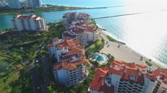 Eipc aerial video of Fisher Island Miami Beach 4k Stock Footage