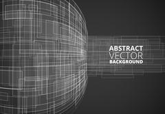 Black Futuristic Wire - stock illustration