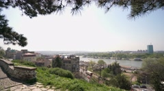 Belgrade fortress and Kalemegdan park Stock Footage