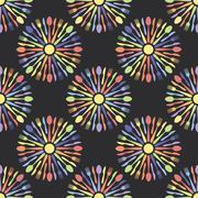 Seamless Kitchen Cutlery Colorful Pattern Stock Illustration