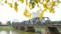 Chiang Mai Iron Bridge with Taxi HD Clip. Stock Footage