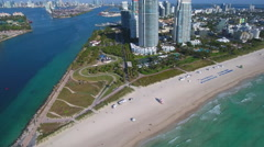 Stock aerial footage South Pointe Park Stock Footage