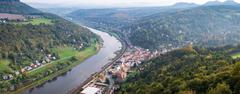 View from viewpoint of Bastei in Saxon Switzerland Germany to the town city a Stock Photos