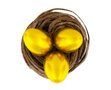 Golden eggs in nest Stock Illustration