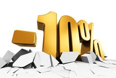 10 percent sale and discount advertisement concept - stock illustration