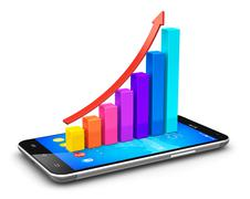 Smartphone and growing bar chart with arrow Stock Illustration