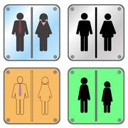 Restroom Sign with Man and Woman Piirros