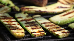 Zucchini on grill Stock Footage