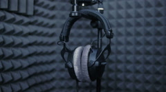 Studio headphones microphone in professional sound studio Stock Footage