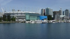 Vancouver downtown beautiful false creek view, BC place Stock Footage