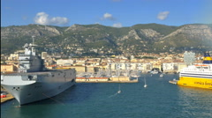 Passing French aircraft carrier port of Toulon France Stock Footage