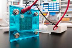 Hydrogen fuel cell, A fuel cell is a device that converts the chemical energy Stock Photos