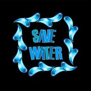 Save water graphic with water drops Stock Illustration