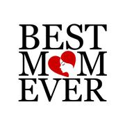 Best mom ever with face of a woman forming heart  Stock Illustration