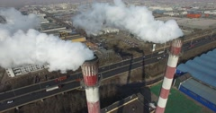 CLOSE UP OF WHITE SMOKE AIR POLLUTION AT INDUSTRIAL FACTORY IN TIANJIN CHINA Stock Footage