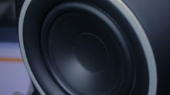 Large black speaker doing a bass test Stock Footage