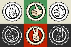 Thumb up and Victory gestures emblem set - stock illustration