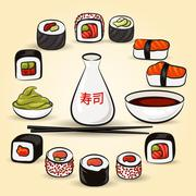Colorful Sushi set - stock illustration