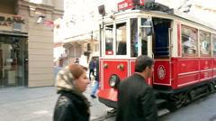 Historic tram on Istiklal Street .  Istanbul, Turkey. slow motion Stock Footage