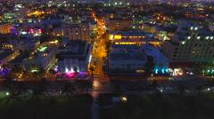 Ocean Drive at night shot with drone 4k Stock Footage