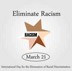 No Racism- Graphic showing unity- International day for the elimination of Racis - stock illustration