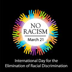 No racism graphic with colorful hands  Stock Illustration