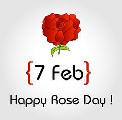 Happy Rose day card for february 7th - stock illustration