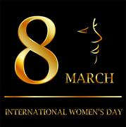 Womens day graphic in gold  Stock Illustration