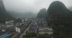 CINEMATIC REVERSE FLY BY OF YANGSHUO TEMPLE ON MOUNTAIN SIDE (1of2) - stock footage