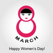 Large digit 8 with a woman- graphic for international womens day  Stock Illustration