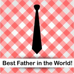 Tie on a red gingham pattern background- graphic for fathers day  - stock illustration