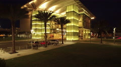 Aerial of Downtown Orlando, Fl at Night Dr. Phillips Center - stock footage