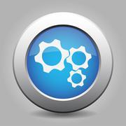 blue metal button with three cogwheel - stock illustration