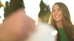 closeup beautiful woman adoring her husband - stock footage