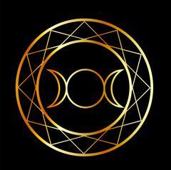Gold Wiccan symbol Triple Goddess  - stock illustration