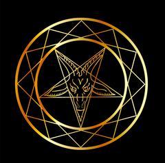 Golden sigil of Baphomet- Satanism symbol  - stock illustration