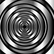 High tech metallic ring background- optical illusion  - stock illustration