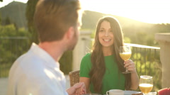 beautiful young woman having breakfast with her husband - stock footage