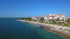 Low altitude aerial video of Fisher Island Miami Beach FL prores codec - stock footage