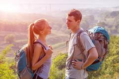 Romantic Journey young Couple Travelling - stock photo