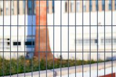 Fence of metal grille - stock photo