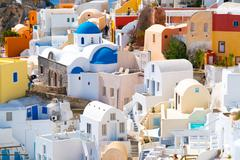 Oia,  view of Oia town, Santorini island, Greece Stock Photos