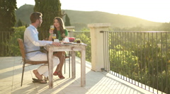 Young couple having privat breakfast Stock Footage