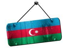 Azerbaijan flag, 3D rendering, vintage grunge hanging sign Stock Illustration