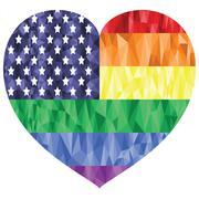 Poly art american flag with rainbow Stock Illustration